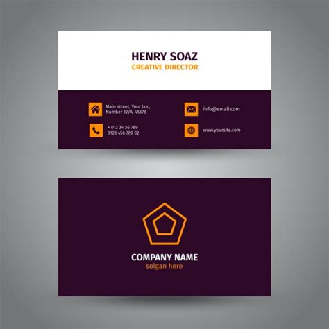 Purple Business Card Template Free by Corporate Purple Business Card Vector Free