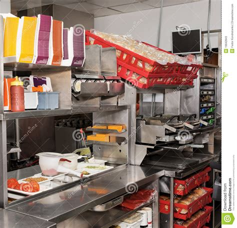 fast food kitchen design fast food restaurant stock image image of hard table