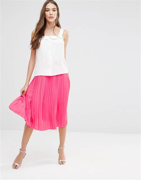 pink lavand pleated midi skirt in pink at asos