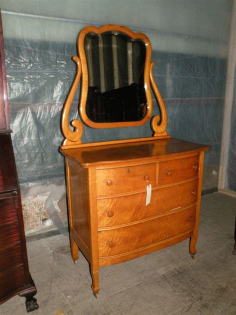 antique birdseye maple bedroom dresser with mirror