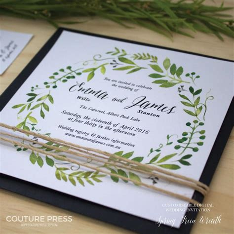 Wedding Invitations Green by Printable Wedding Invitation Diy Printable Watercolour