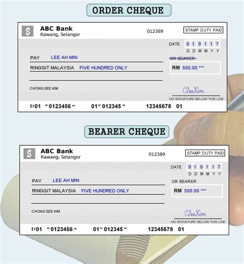 bank checks order what is the difference between order cheque and bearer