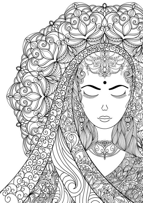 Coloring Pages for Adult Indian Woman Adult por