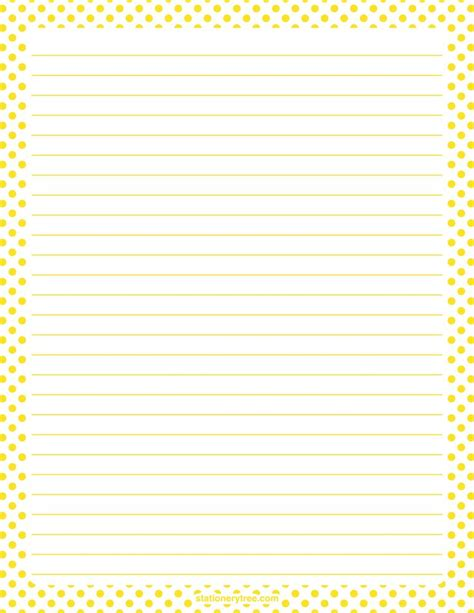 free printable stationery paper without lines printable yellow and white polka dot stationery and