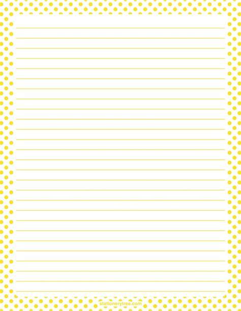 printable dot stationery printable yellow and white polka dot stationery and