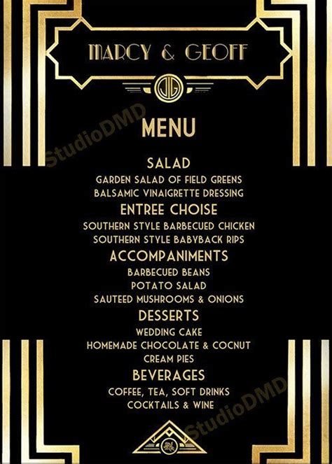 Image Result For Free Great Gatsby Menu Template Gatsby Gatsby Menu Menu Card Template Great Templates