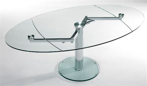 expandable oval glass dining table