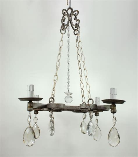 Steel Chandelier Steel Wrought Iron Cut Glass Chandelier