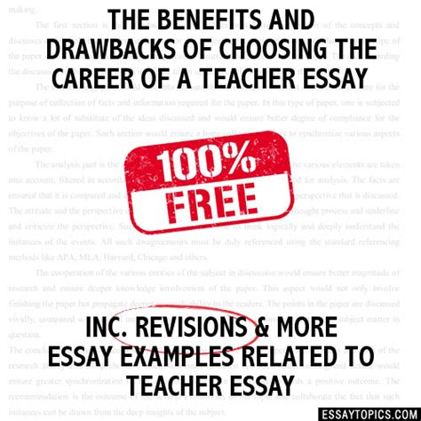Choosing A Career Essay by The Benefits And Drawbacks Of Choosing The Career Of A Essay