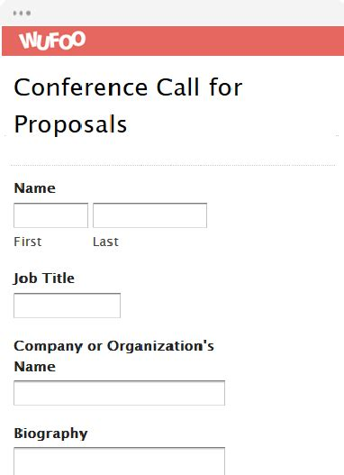 Call For Proposals Template form template wufoo