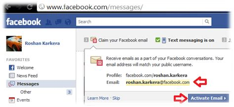 email yahoo facebook how to create facebook com email address