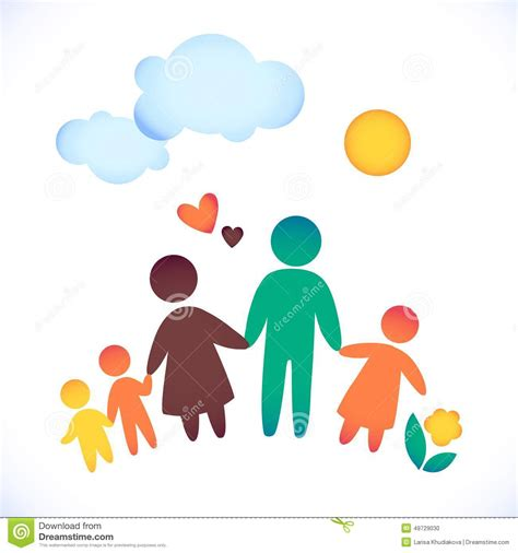 tree children happy family icon multicolored in simple figures three