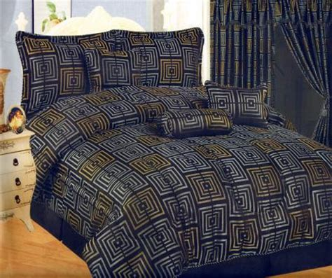 Navy And Gold Bedding by Square Jacquard Bed Comforter Set Navy Blue Gold