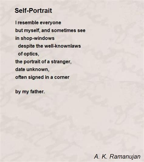 Syari Ak self portrait poem by a k ramanujan poem