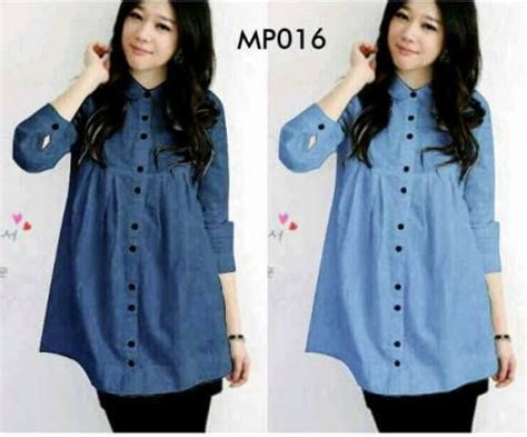 Fashion Wanita Sloopy Maxi Terlaris blouse casual denim button mp016 dan murah http