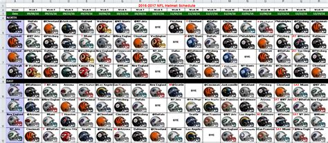 printable helmet schedule nfl helmet schedule pdf html autos post