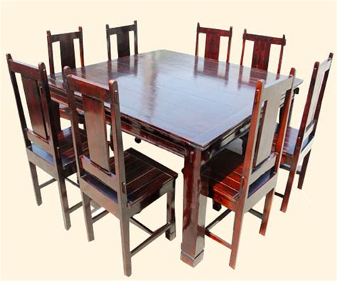 Cherry Wood Kitchen Table Sets Cherry 9 Pc Square Wood Dining Kitchen Table And Mission Chairs Set For 8 Ebay