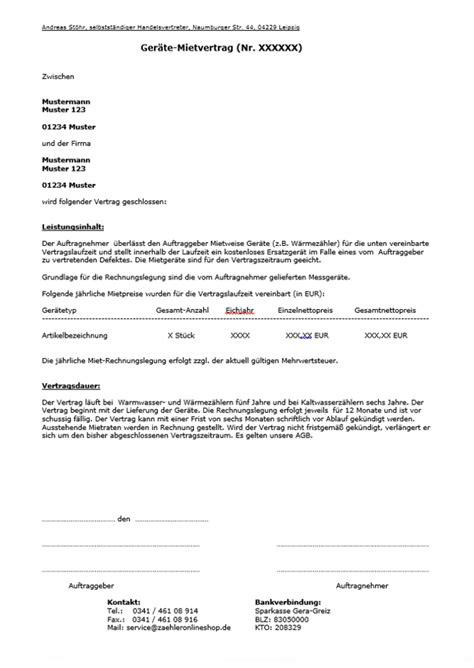 Angebot Vermietung Muster Zaehleronlineshop De Vermietung W 228 Rmez 228 Hler Und Wasserz 228 Hlern
