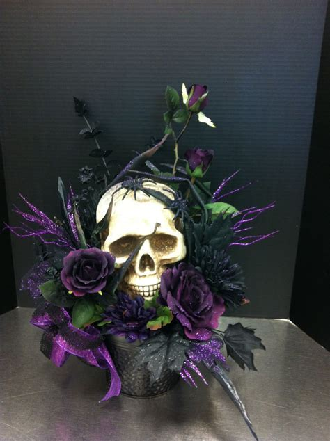Creepy purple skull custom floral by Andrea for Michaels