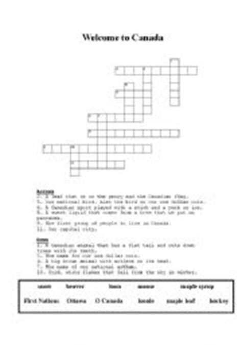 easy crossword puzzles canada english teaching worksheets canada