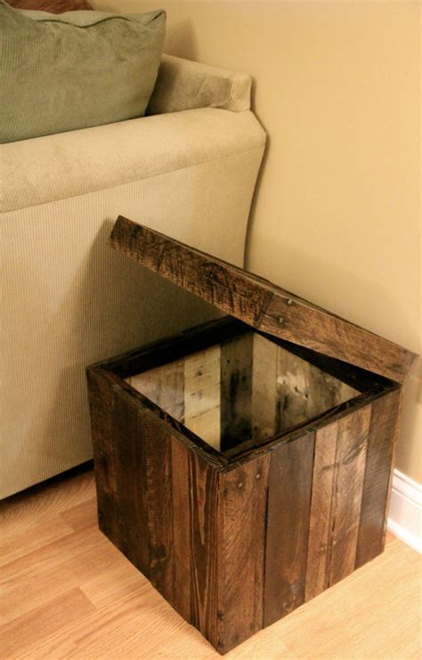 ottoman from pallet storage cubed ottoman made from pallet wood stained