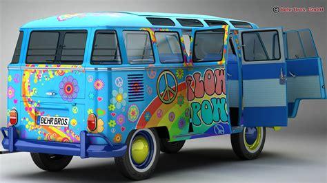 volkswagen type 2 samba 1963 hippie 3d model vehicles 3d