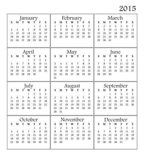 2015 Calendar Printable Free Large Images Free Calendar Template For 2015