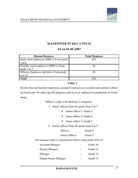 Financial Analysis Project Report For Mba by Analysis Of Financial Statement Kirloskar Project Report