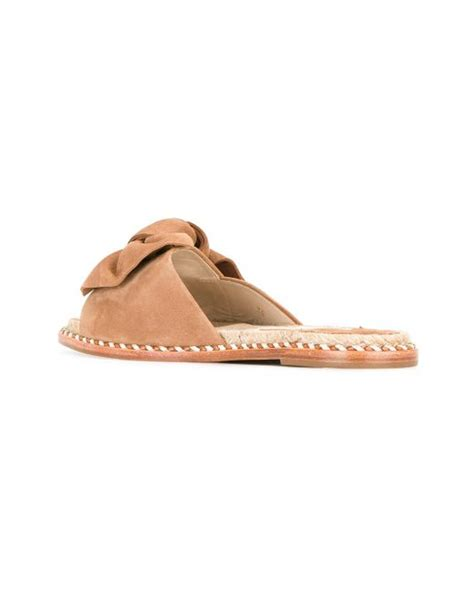 flat sandals with bows barcel 243 flat slide bow sandals in brown lyst