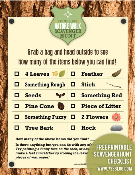 Backyard Scavenger Hunt Ideas Nature Walk Scavenger Hunt Free Printable Free Printable Nature Scavenger Hunts And Free
