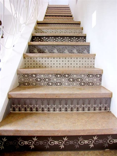 tile pattern on stairs tile stair risers design home interior design ideas