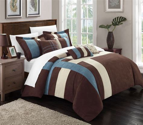 brown microsuede comforter chic home regina 7 piece plush microsuede comforter set