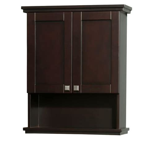 Espresso Bathroom Storage Wyndham Collection Acclaim 25 In W X 30 In H X 9 1 8 In D Bathroom Storage Wall Cabinet In