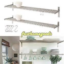 2 kitchen wall shelf stainless steel ikea grundtal pot pan plate rack 5 hooks