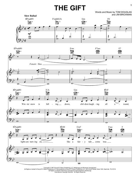 song jim brickman lyrics the gift sheet by jim brickman piano vocal