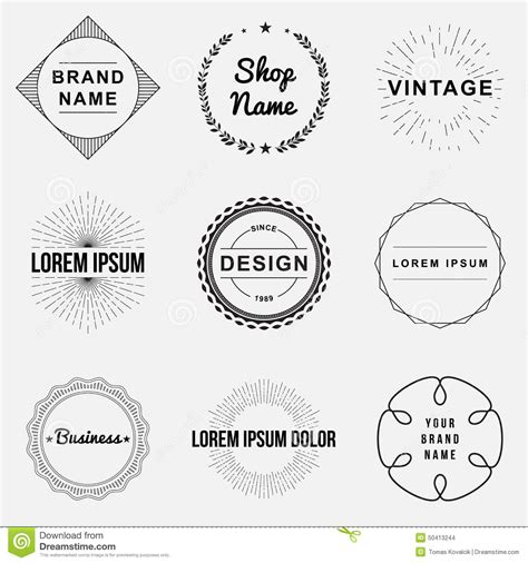 design label logo set of retro vintage badges and label logo graphics stock