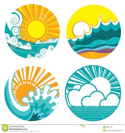 sea wave logos vector free stock vector sun and sea waves vector icons of illustration o stock