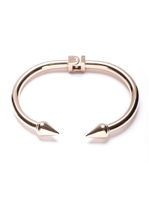 Sharp Point Double Spike Cuff Bracelet in Rose Gold   Happiness Boutique