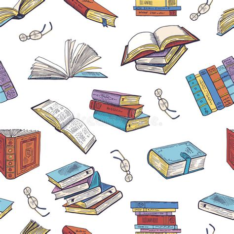 vector pattern library different books from library doodle vector illustrations