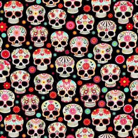 Ty Pennington by Timeless Treasures Sugar Skulls Black Fabric Emerald City Fabrics