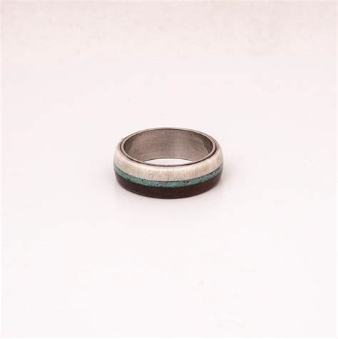 turquoise mens ring mens wedding band wood and antler with