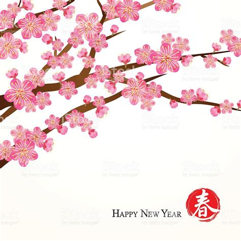 new year blossom tree vector cherry blossom clipart pencil and in color