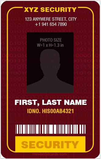 security guard id card template 4 best ms word security guard id card templates