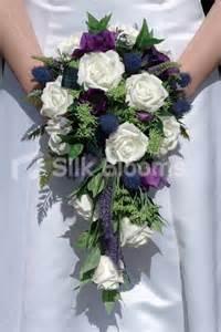 Beautiful scottish bridal bouquet w roses thistles amp foliage 124