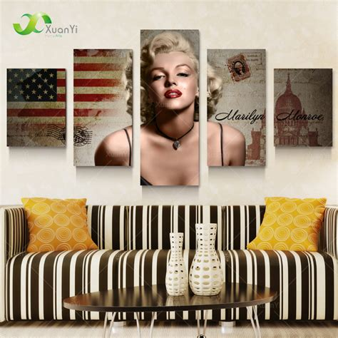 marilyn monroe home decor 5 panel marilyn monroe oil canvas painting picture wall