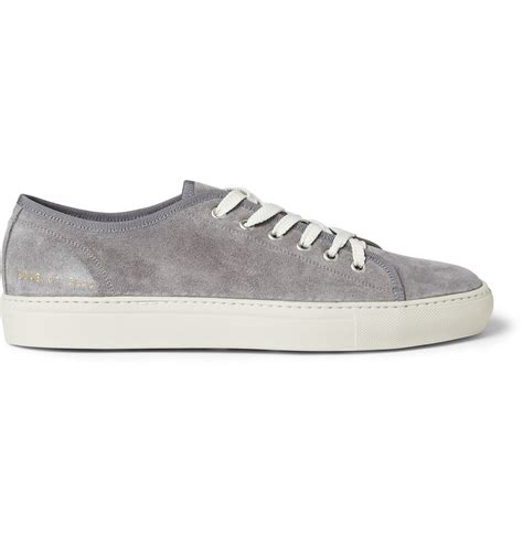 grey sneakers mens common projects tournament suede sneakers in gray for
