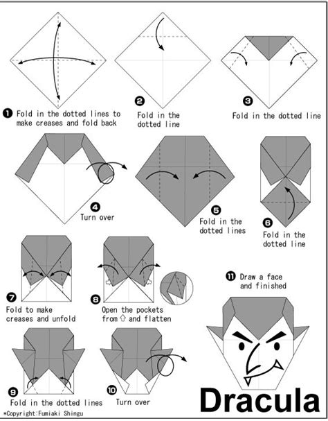 printable origami bat instructions dracula http en origami club com halloween dracula