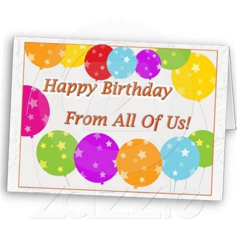X Birthday Cards Happy Birthday From All Of Us Greeting Card Greeting