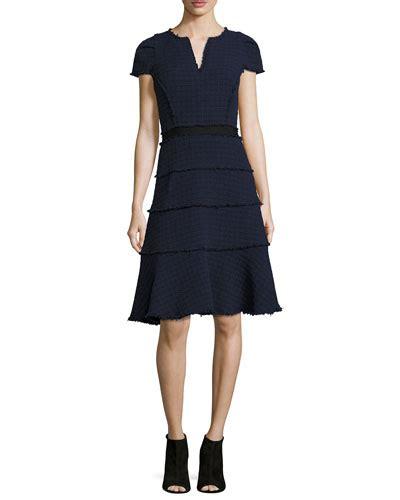 Ruffled Tweed A Line Miniskirt sleeves tiered skirt dress neiman