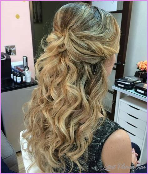 hairstyles curly hair half up half down long hairstyles half up half down latestfashiontips com